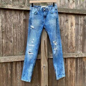 Zara | High rise distressed skinny jeans size 2